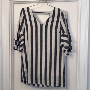 Vici Blue & Cream Linen Striped Midi Dress